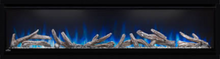 Load image into Gallery viewer, Alluravision™ 74 Slimline Electric Fireplace. NEFL74CHS. The Alluravision™ 100 Slimline linear electric fireplace offers a quick and simple way to enhance an entire space with warmth and a dazzling show of flames.