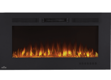 Load image into Gallery viewer, The Allure™ Phantom 42 electric fireplace effortlessly heats large spaces, providing the luxury that you can just hang. The slim depth won't intrude into the space. The Allure™ Phantom can be fully recessed for a more seamless look. A matte surround and mesh front provide a completely unobstructed view of the glass ember bed and beautiful flames. Use the included remote or front control panel to adjust the flame intensity, flame color, blower, heat output, and set the timer.
