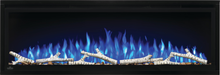 Load image into Gallery viewer, Make a statement with the Napoleon Entice™ 50 Electric Fireplace. This fireplace puts out an incredible amount of heat, glittering with multicolored flames and a crystal ember bed. You don't need a specialist or a gas fitter for this expansive beauty, just hang on the wall and plug in for instant transformation of your space. Traditional orange flames, or cool blue flames, or a combination of the two will set the mood. The shallow depth means that this fireplace doesn't intrude into your living space, but s