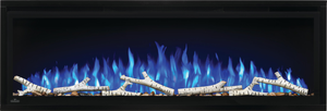 Make a statement with the Napoleon Entice™ 50 Electric Fireplace. This fireplace puts out an incredible amount of heat, glittering with multicolored flames and a crystal ember bed. You don't need a specialist or a gas fitter for this expansive beauty, just hang on the wall and plug in for instant transformation of your space. Traditional orange flames, or cool blue flames, or a combination of the two will set the mood. The shallow depth means that this fireplace doesn't intrude into your living space, but s