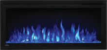 Load image into Gallery viewer, Make a statement with the Napoleon Entice™ 36 Electric Fireplace. This fireplace puts out an incredible amount of heat, glittering with multicolored flames and a crystal ember bed. You don't need a specialist or a gas fitter for this expansive beauty, just hang on the wall and plug in for instant transformation of your space. Traditional orange flames, or cool blue flames, or a combination of the two will set the mood.