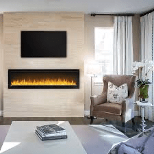 Napoleon's Alluravision™ 60 Slimline linear electric fireplace allows you to see the fireplace and not the frame with its nearly frameless linear design. As a contemporary electric fireplace, the frameless modern look is just as important as its functionality. Easy to use, the plug and play installation allows this unit to be hung on the wall and turned on immediately. Its slim design barely protrudes into the room. The Alluravision™ 60 can also be hardwired in to hide plugs.