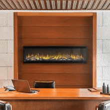 Load image into Gallery viewer, Napoleon's Alluravision™ 60 Slimline linear electric fireplace allows you to see the fireplace and not the frame with its nearly frameless linear design. As a contemporary electric fireplace, the frameless modern look is just as important as its functionality. Easy to use, the plug and play installation allows this unit to be hung on the wall and turned on immediately. Its slim design barely protrudes into the room. The Alluravision™ 60 can also be hardwired in to hide plugs.
