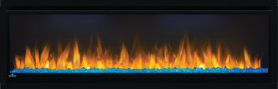 ALLURAVISION™ 50 DEEP DEPTH  Napoleon's Alluravision™ 50 Deep Depth linear electric fireplace allows you to see the fireplace and not the frame with its nearly frameless linear design.Easy to use, the plug and play installation allows this unit to be hung on the wall and turned on immediately.Enjoy the Alluravision™ 50 all year round with separate flame and heat controls.