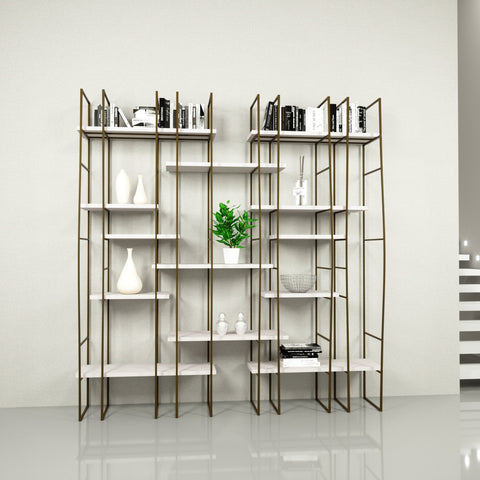 Image of Infinito Library Étagerè -- Double -- Off-White Matte Lacquer Shelves