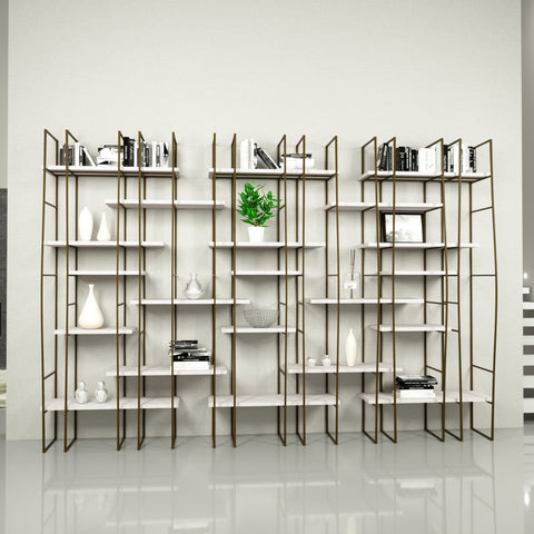 Infinito Library Étagerè -- Triple -- Off-White Matte Lacquer Shelves