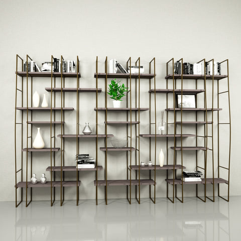 Image of Infinito Library Étagerè -- Triple -- Grey Matte Lacquer Shelves
