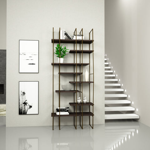 Infinito Library Étagerè -- Single -- Brown Matte Lacquer Shelves