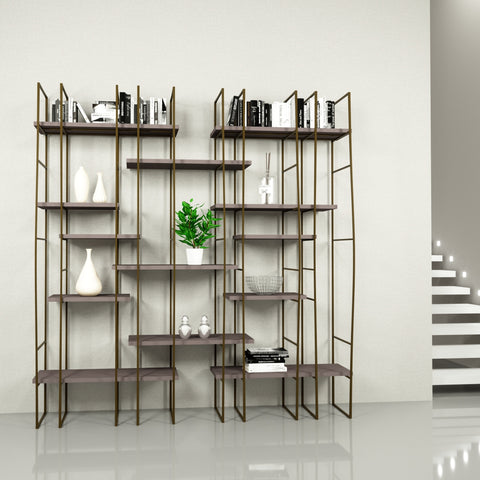 Infinito Library Étagerè -- Double -- Grey Matte Lacquer Shelves