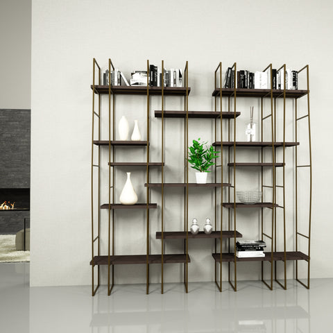 Image of Infinito Library Étagerè -- Double -- Brown Matte Lacquer Shelves