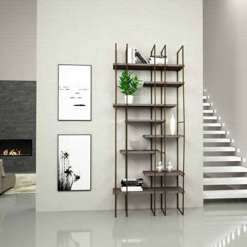 Image of Infinito Library Étagerè -- Single -- Grey Matte Lacquer Shelves