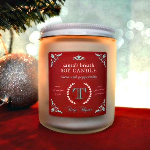 Tidy Thyme 100% Plant Based Cleaning and Home's Santa's Breath, our super yummy seasonal holiday candle!