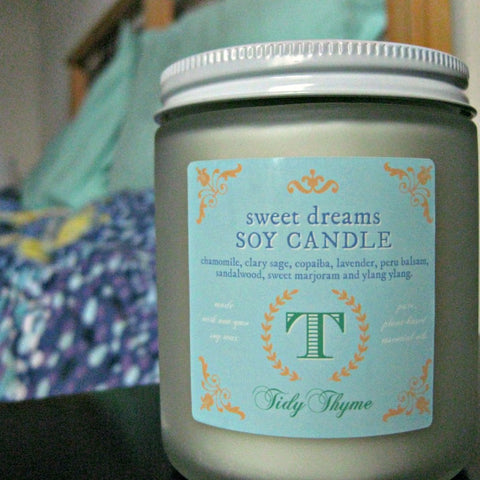 Tidy Thyme 100% plant based home and cleaning: Sweet Dreams Soy Candle