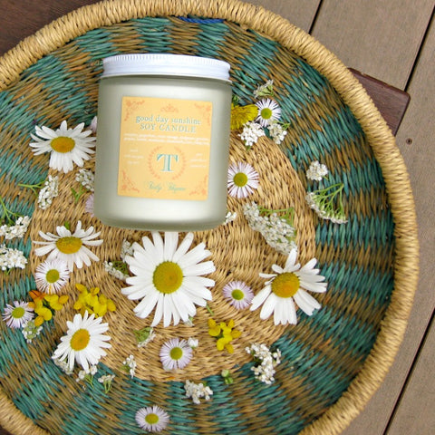 Tidy Thyme's Good Day Sunshine aromatherapy blend of pure essential oils is on sale for the month of July! Good Day Sunshine is an uplifting, energizing scent and is available as a non-GMO soy candle or an aromatherapy room & linen spray. 100% plant based goodness, with no artificial anything!