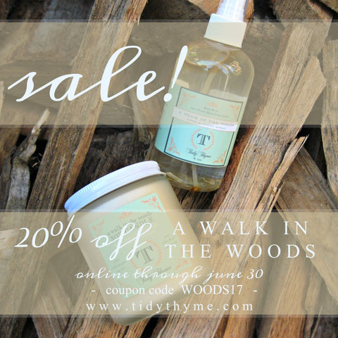 Celebrate Fathers' Day (or anything, really) with A Walk in the Woods at 20% Off! Tidy Thyme 100% Plant-Based Home and Cleaning Products is offering the A Walk in the Woods Soy Candle and A Walk in the Woods Room & Linen Spray at 20% off through the month of June.