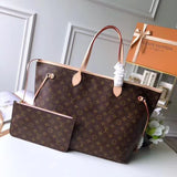 "Bolsa Louis Vuitton Neverfull Canvas Monograma ""Marrom/Pink"""