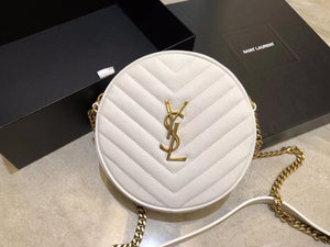 "Bolsa YSL Vinyle Round Camera ""White/Gold"""