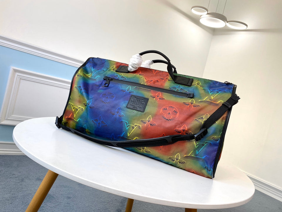 "Bolsa de Viagem Louis Vuitton Keepall  ""Virgil Abloh Colorida"""