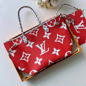 "Bolsa Louis Vuitton Neverfull Canvas Monograma Multicolor ""Red/Pink"""