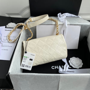 "Bolsa Chanel AS2210 ""White/Gold"""