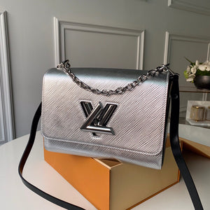 "Bolsa Louis Vuitton Twist MM ""Prata/Preto"""