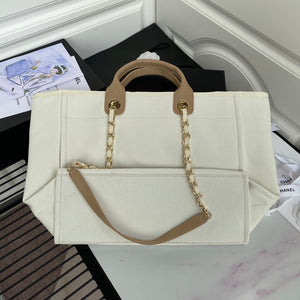 "Bolsa Chanel Tote Bag ""White/Brown"""