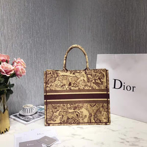 "Bolsa Christian Dior Book Tote ""Creme/Bordo"""