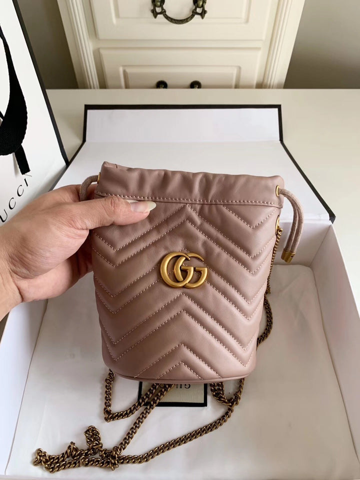 "Gucci GG Marmont mini bucket bag ""Rosa Pastel"""