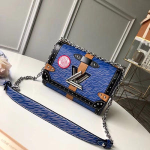 "Bolsa Louis Vuitton Twist MM ""Azul/Preto/Branco"""