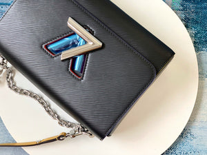"Bolsa Louis Vuitton Twist MM ""Preto/Azul/Roxo"""