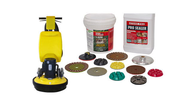 HArd surface equpment and diamond abrasives for grinding, honing and polishing - stone, concrete, and marble floors
