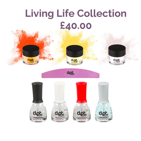 dipt living life collection orange yellow and sparkly pink dip powder