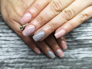 dipt dedication with twin, french nails with silver sparkle nail dip powder