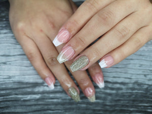 dipt carpe diem, in omnia paritas, and ba, dipt french manicure with sparkles, dip nail powder french manicure