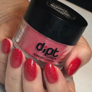 dipt roberta, sparkly red nails dip powder