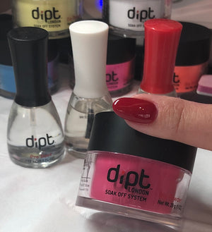 dipt love, deep red dip powder nails