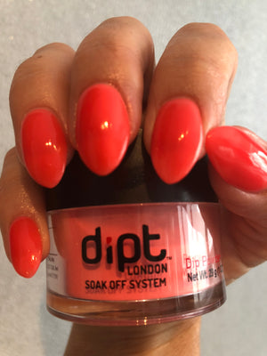 dipt endurance, bright orange nail dip powder