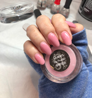 dipt queen nail powder, sparkly pink dip powder