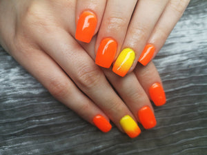 dipt happiness, bright orange nails dip powder
