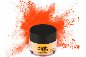 dipt bright vibrant orange dip powder, bright orange nail powder