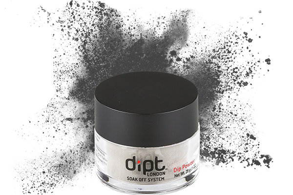 dipt charcoal grey dip powder, medium grey nail powder