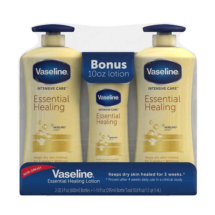 Vaseline Intensive Care Essential Healing Body Lotion 600ml (2+bonus)