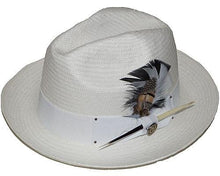 Load image into Gallery viewer, Santiago Shantung Straw Pinch Front Fedora by Bruno Capelo