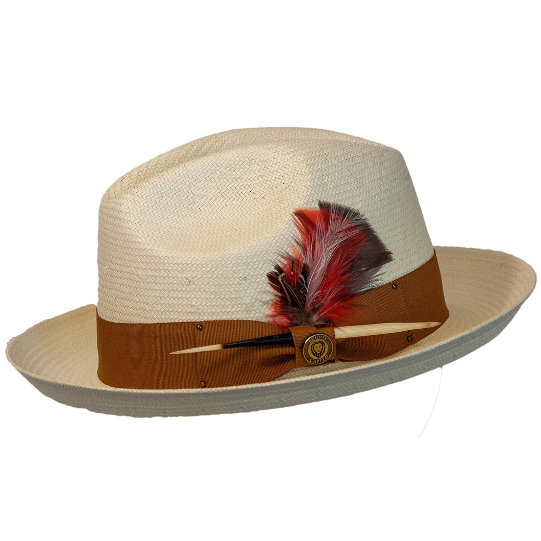Santiago Shantung Straw Pinch Front Fedora by Bruno Capelo