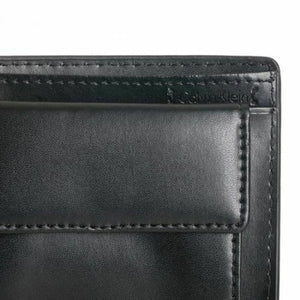 New Calvin Klein Ck Men's Leather Wallet Id Billfold With Coin Case Black 79600