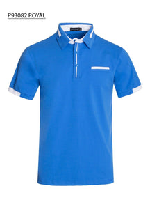 New Mens Short Sleeve Polo Shirt Slim Fit Stretch Blue White Accents Pocket