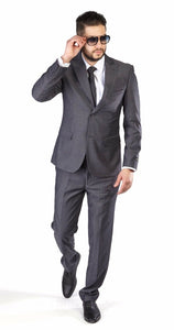 Slim Fit Suit 2 Button Textured Weave Dusty Ash Grey Peak Lapel By Azar Man 1692