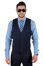 Load image into Gallery viewer, Slim Fit Suit 3 Piece Vested 2 Button Solid Navy Blue Notch Lapel By AZAR MAN