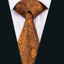 Load image into Gallery viewer, USA Silk Mens Ties Classic Paisley Necktie Gold Orange Brown Tie Set Party