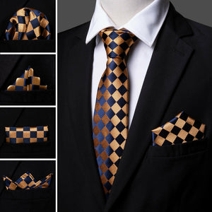 Mens Ties Pre-tied Bow tie Set Blue Bronze Paisley Silk Formal Barry Wang USA
